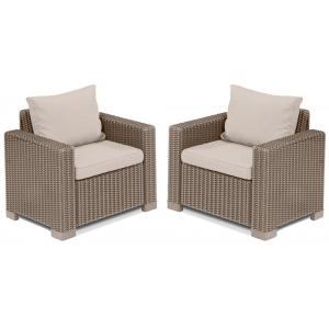 Dagaanbieding - California loungestoel 1 zits cappuccino (2 stuks) dagelijkse aanbiedingen
