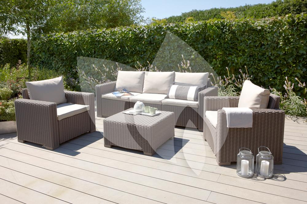 Allibert california loungeset 3 zits cappuccino Salon de jardin monaco lounge allibert