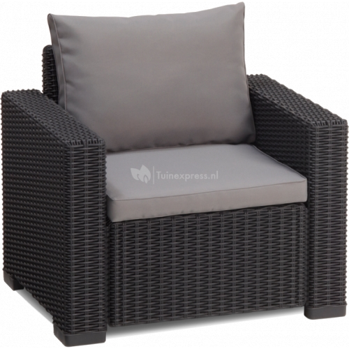 Allibert california loungeset 3 zits antraciet for Lounge sessel polyrattan