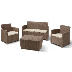 Dagaanbieding - Corona loungeset met kussenbox cappuccino dagelijkse aanbiedingen