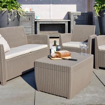 Corona loungeset met kussenbox cappuccino