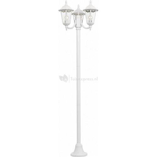 Outdoor wit groot Vloerlamp - Outdoor wit groot Vloerlamp De Oudoor wit groot vloerlamp is een verrijking voor iedere tuin. Door zijn witte groene kleur heeft deze buitenlamp een nostalgische uitstraling. De Outdoor wit groot vloerlamp heeft e27 fittingen voor lichtbronen van maximaal 100 watt per lamp. De lampen geven een sfeervol en functioneel lichtbeeld. Plaats de lamp op een makelijke wijze in uw tuin waar u wilt. Het raamwerk van de lamp is van glas. Let op: levering zonder bijhorende lamp (e27) Specificaties: Mat(...)