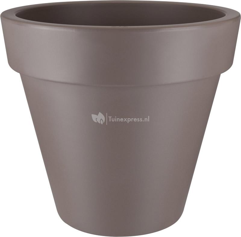 Elho pure round plantenbak taupe - Taupe gekleurde ...