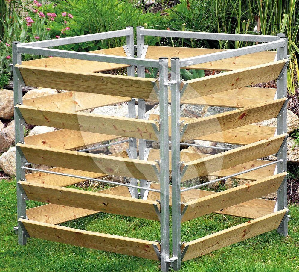 express compostbak hout metaal 100 x 100 x 100. Black Bedroom Furniture Sets. Home Design Ideas