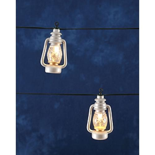 LED Lichtsnoer 10 zilverkleurige stormlantaarns