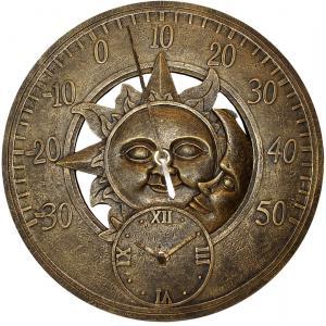 Dagaanbieding - Buitenklok met thermometer zon en maan dagelijkse aanbiedingen