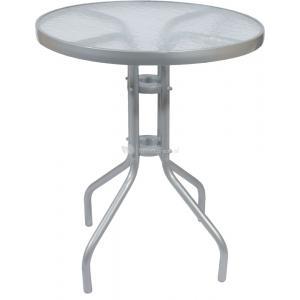 Dagaanbieding - Terrastafel met glasplaat 60 cm zilver dagelijkse aanbiedingen