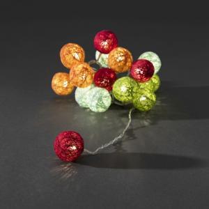 LED lichtsnoer multicolor textielbollen 3.5cm
