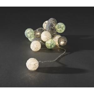 LED lichtsnoer gekleurde textielbollen 3.5cm