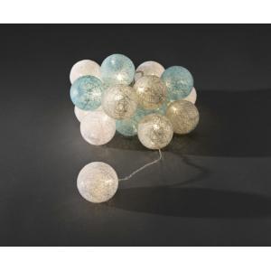 LED lichtsnoer gekleurde textielbollen 6cm