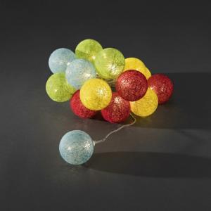 LED lichtsnoer multicolor textielbollen 6cm