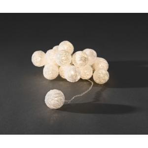 LED lichtsnoer witte textielbollen 3.5cm