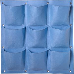 Plantentas voor verticaal tuinieren blauw - 9 zakken 72 x 72 cm