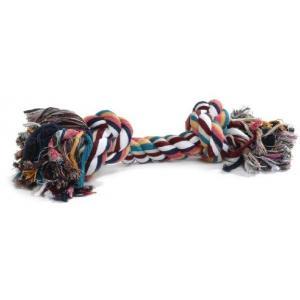 Flossytouw gekleurd met 2 knopen hondenspeelgoed - 300 gram