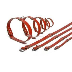 Lederen honden halsband rood - 42 cm x 16 mm