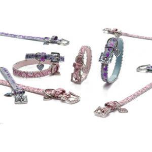 Luxo honden halsband chique roze en blauw - Blauw 32 cm x 15 mm