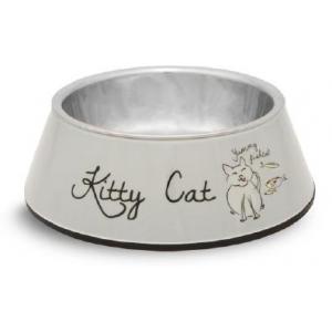 Melamine rvs eetbak kitty cat grijs