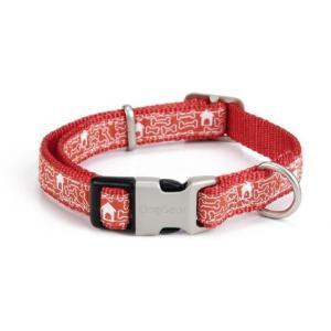 Nylon honden halsband bones rood - 26-40 cm x 15 mm