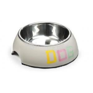 Melamine eetbak tape dog grijs - 22 x 7.5 cm