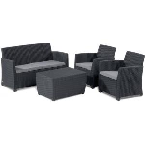 Allibert Corona Loungeset 4-delig Wicker Antraciet
