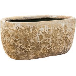 Lava Relic beige ovale bloempot binnen 38x24x19 cm