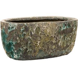 Lava Relic Jade ovale bloempot binnen 38x24x19 cm