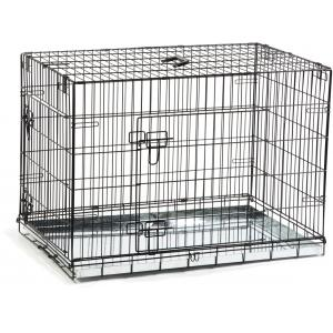 Dagaanbieding - Hondenbench 2 deurs inklapbaar zwart 89 X 60 X 66 cm dagelijkse aanbiedingen