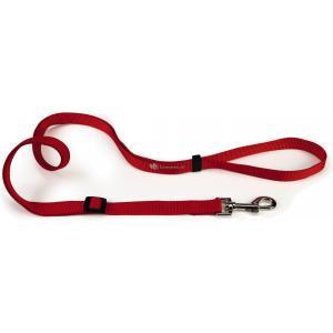 Hondenriem van nylon verstelbaar 180cm x 10mm rood