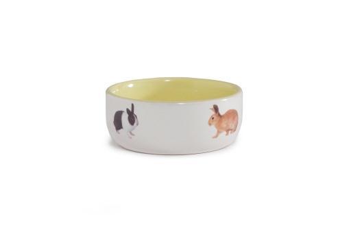 Beeztees - konijnenvoerbak - keramiek - geel - diam. 11,5 cm
