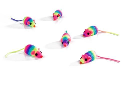 Beeztees speelmuisje - kattenspeelgoed - rainbow - 5 cm