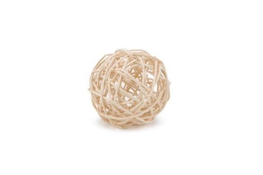 Beeztees boelie speelbal - knaagdier - rattan - wit - 9 cm