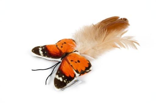 Beeztees fligo vlinder - kattenspeelgoed - oranje - 8 cm