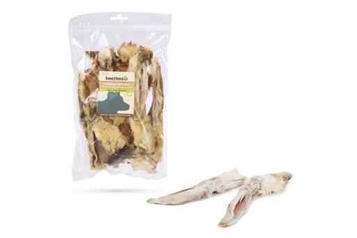 Beeztees konijnenoren met haar - hondensnack - 200 gram