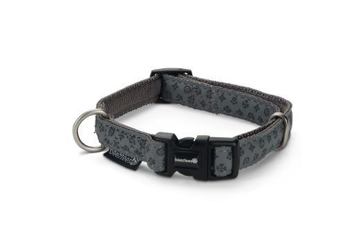 Beeztees halsband hond mac leather grijs 20 40 cm