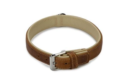 Beeztees comfort halsband hond leer bruin 55 cm x 30 mm