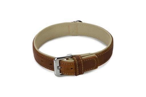 Beeztees comfort halsband hond leer bruin 50 cm x 30 mm