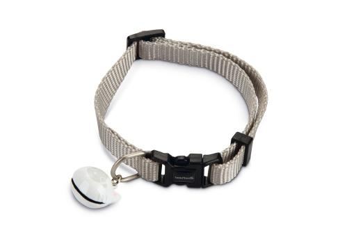Beeztees uni - kattenhalsband - nylon - lichtgrijs - 20-30 cm