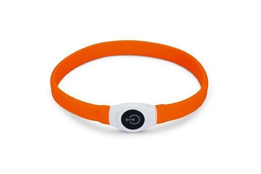 Beeztees safety gear glowy - halsband hond - oranje - 65x2,5 cm