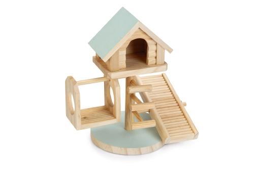 Beeztees speelhuis lovy - knaagdier - hout - mint - 21x15,5x21cm