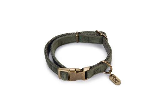 Designed by lotte velura hondenhalsband fluweel groen 26 40cmx15mm