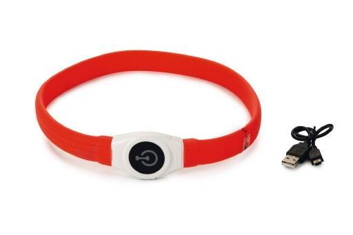 Beeztees safety gear glowy - hondenhalsband - usb - rood - 65x2,5 cm
