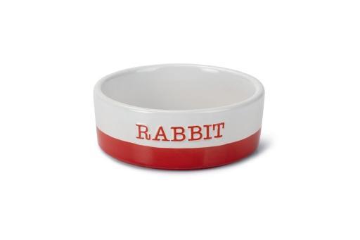 Beeztees jomi - konijnenvoerbak - keramiek - rood - 12x12x4,5 cm
