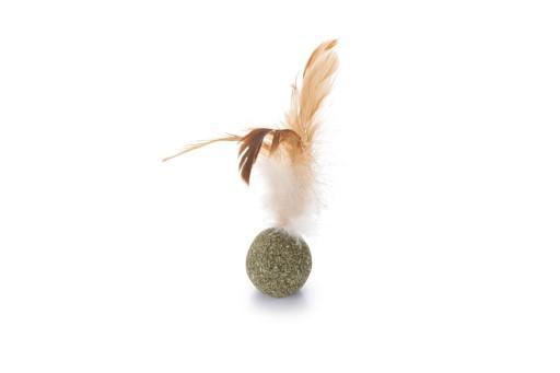 Beeztees catnip bal met veren kattenspeelgoed 12 cm