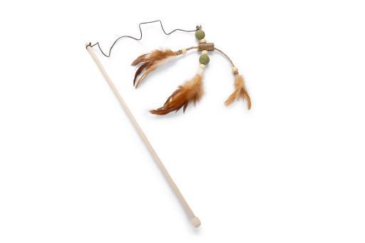 Beeztees catnip matatabi hengel veren kattenspeelgoed 40 cm