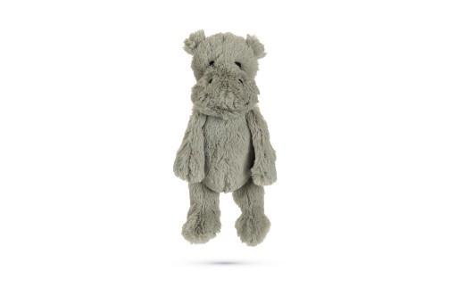 Beeztees nijlpaard quin hondenspeelgoed pluche grijs 40x20x13 cm
