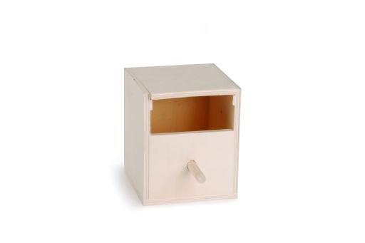 Broedkast open - vogel - hout - 10,5x10,5x13,5 cm