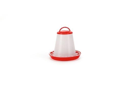 Voersilo+deksel - vogel - plastic - rood/wit - 1kg