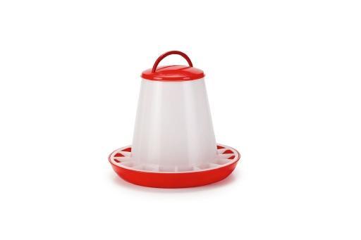 Voersilo+deksel - vogel - plastic - rood/wit - 3kg