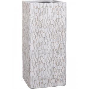 Dagaanbieding - Capi Nature Stone 26x26x58cm hoge plantenbak ivoor dagelijkse aanbiedingen