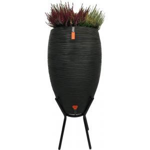 Capi Nature Rib regenton zwart 130L met plantenbak